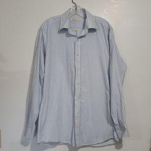 Michael Kors Blue & White Striped Dress Shirt Sz